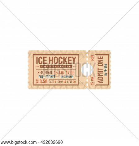 Paper Ticket Invitation On Ice Hockey Game Isolated Ticket. Vector Ice-hockey Championship Invitatio