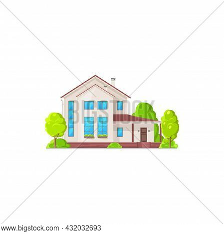 Country House, Urban Private Home With Chimney Pipe, Mansard Roof, Big Windows Isolated. Vector Town