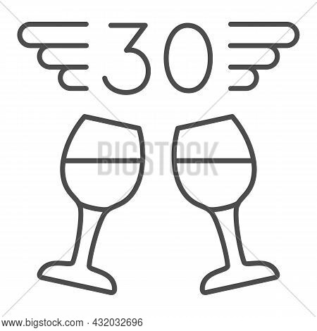 Two Wine Glasses And Number 30 With Wings Thin Line Icon, Anniversary Concept, Thirty Vector Sign On