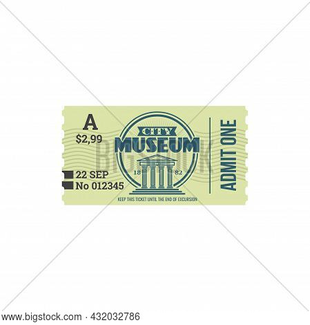 Full Ticket To Museum Isolated Retro Paper Card. Vector Voucher Access To History Museum, Single Ent