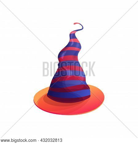 Cartoon Witch Hat Vector Icon, Magician Headwear With Red And Purple Stripes And Wavy Crown, Hallowe