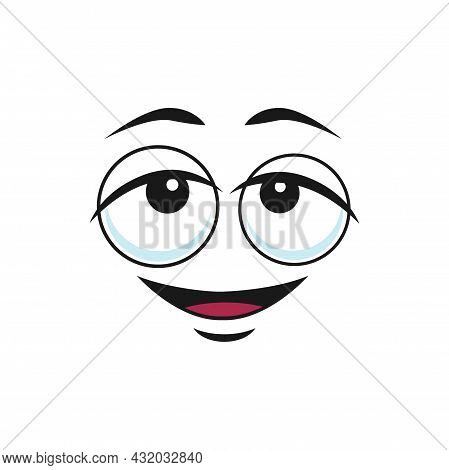 Cartoon Face Vector Icon, Funny Dreaming Emoji, Dreamy Relaxed Facial Expression, Positive Satisfied