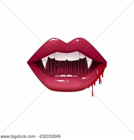 Vampire Mouth With Fangs Vector Icon. Cartoon Open Female Red Lips With Long Pointed Teeth And Blood