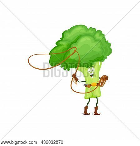 Cartoon Broccoli Cowboy Isolated Vector Icon Funny Vegetable With Lasso And Gun Wear Boots With Spur