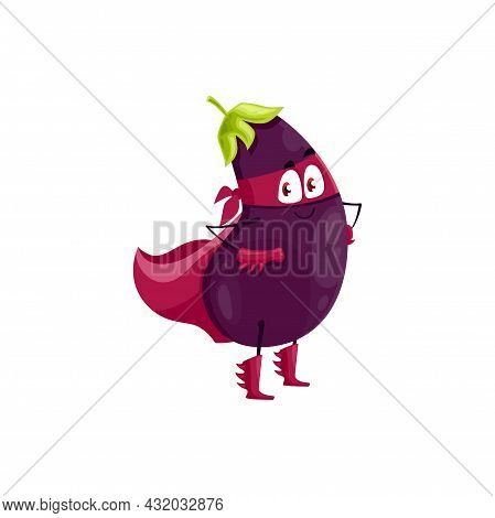 Cartoon Eggplant Super Hero Isolated Vector Icon. Funny Vegetable In Cloak And Mask With Arms Akimbo