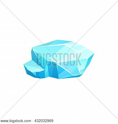 Ice Crystal, Blue Iced Low Glacier Or Floe, Vector Iceberg Or Salt Mineral, Cap Snowdrift Or Icicle