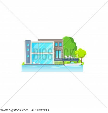 Beach House With Lounge Zone, Chaise Longue On Deck, Boat In Sea Or Ocean Isolated. Vector Villa Or