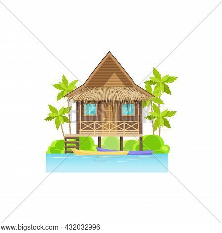 Wooden House On Sea Or Ocean With Canoe Boats, Palm Trees Isolated. Vector Modern Beach Building, Vi