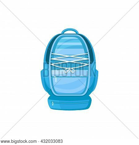 Kids Schoolbag Isolated Vector Icon, Cartoon Student Rucksack Of Blue Color With Slip Pocket, Lacing