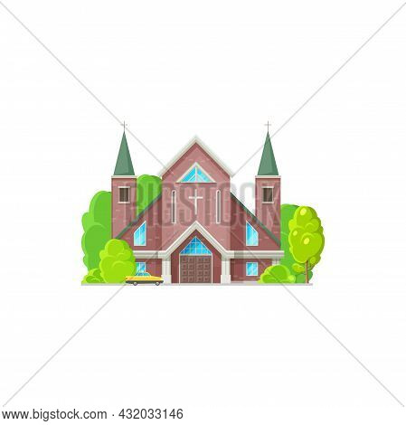 Catholic Or Evangelical Church Isolated Religion Architecture. Vector Medieval Cathedral, Steeple To