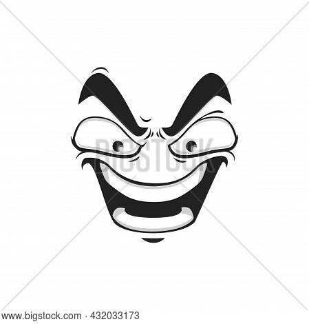 Cartoon Face Vector Gloat Laugh Emoji With Angry Eyes And Laughing Toothy Mouth. Negative Facial Exp