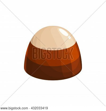 Chocolate Candy Cake, Sweet Dessert Food, Vector Truffle Praline And Caramel Nougat Confection, Isol