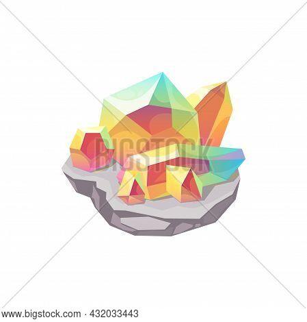 Crystal Gem Stone Or Gemstone Jewel Quartz, Vector, Magic Rock Diamond Icon. Pink, Blue And Yellow M