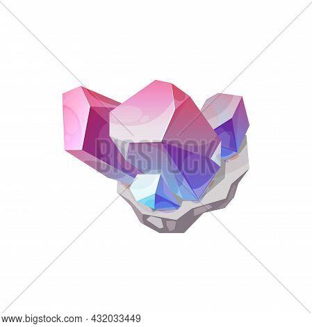 Crystal Gem Stone, Gemstone Jewel Quartz Rock Vector Isolated Icon. Diamond Crystal Or Mineral Gems