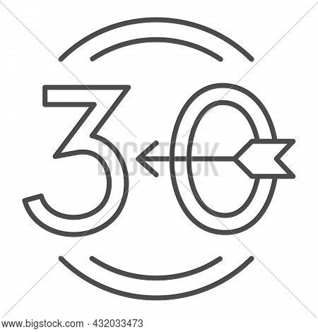Arrow Number 30 And Circle Thin Line Icon, Love And Relationship Concept, Emblem Thirty Vector Sign