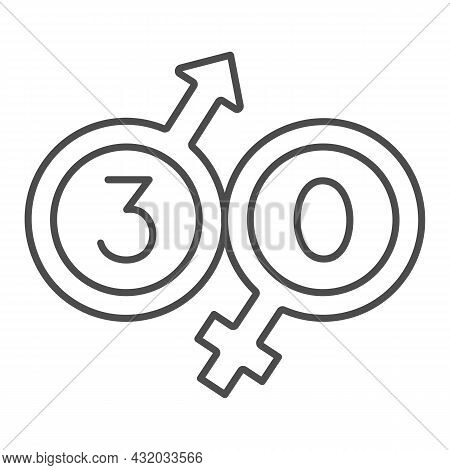 Male And Female Beginning With 30 Thin Line Icon, Love And Relationship Concept, Thirty Vector Sign