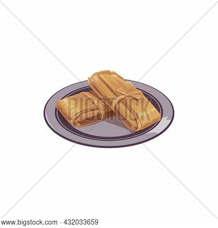 Fruit Tamale Wrapped Dessert On Plate Isolated Traditional Mexican Food. Vector Wrapped Tamales Oaxa