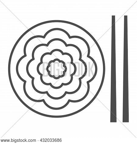 Fried Yakisoba Noodles Thin Line Icon, Asian Food Concept, Chinese Noodle Stir Fry Dish Vector Sign