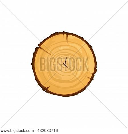 Wood Texture Wavy Ring Slice Of Tree Isolate Stump Top View Flat Cartoon Icon. Vector Log Of Round W