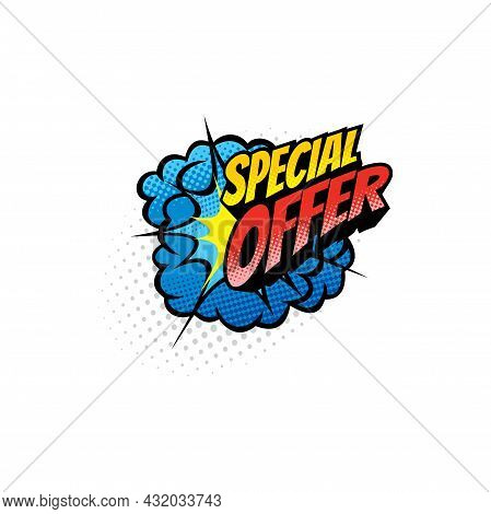 Pop Art Special Offer Retro Comic Bubble Isolated Icon. Vector Cloud Blust And Bubble Explosion, Boo