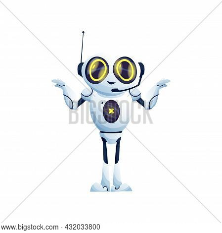 Cartoon Robot Confused Or Mistaking, Not Knowing What To Do Isolated Ai Machine Character With Anten