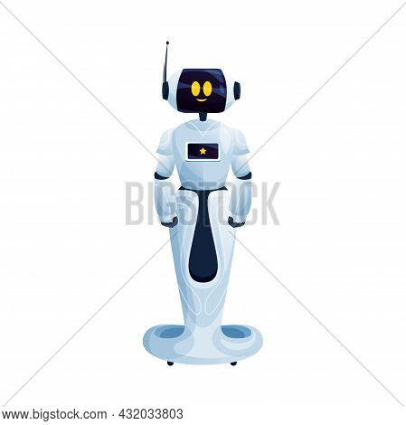 Robot Bionic Man Helper On Moving Stand, Friendly Helper With Antenna On Hand. Vector Electronic Cyb
