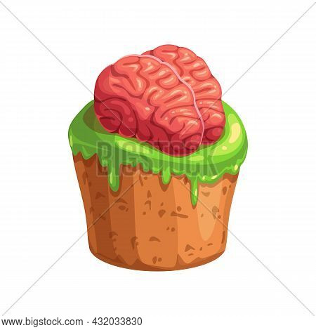 Tasty Candy In Shape Of Cupcake Topped By Human Brains Isolated Realistic Icon. Vector Halloween Hol