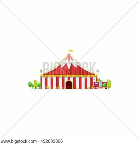 Red Marquee, Amusement Awning Of Circus Building Isolated. Vector Traveling Circus Arena, Entertainm
