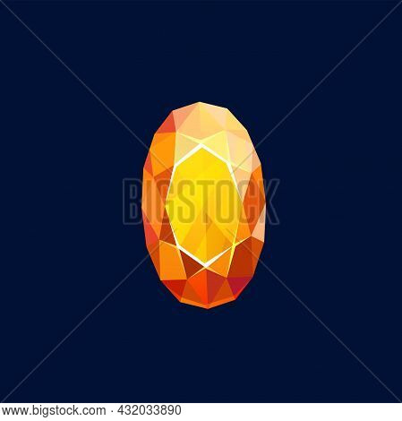 Gem Stone, Magic Crystal Vector Icon, Oval Faceted Rock, Of Yellow And Orange Color, Mineral Crystal