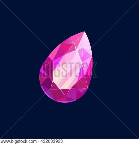 Pink Gem Stone, Magic Crystal Vector Icon. Semiprecious Or Precious Faceted Mineral In Shape Of Drop