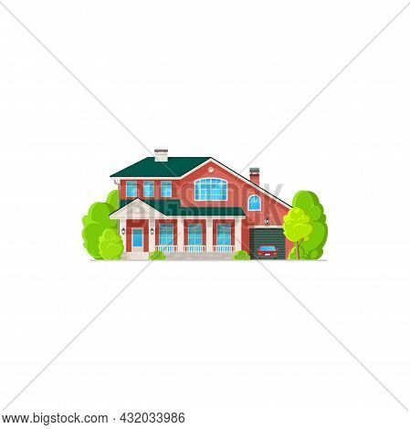 Villa House, Cottage, Real Estate Private Two-storied Building Vector Icon. Residential Home Of Red