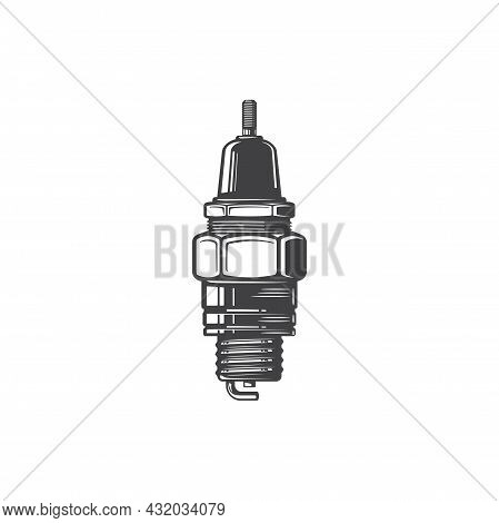 Spark-plug With Screw Isolated Monochrome Icon. Vector Sparking Plug Of Vehicle, Motorcycle Or Motor