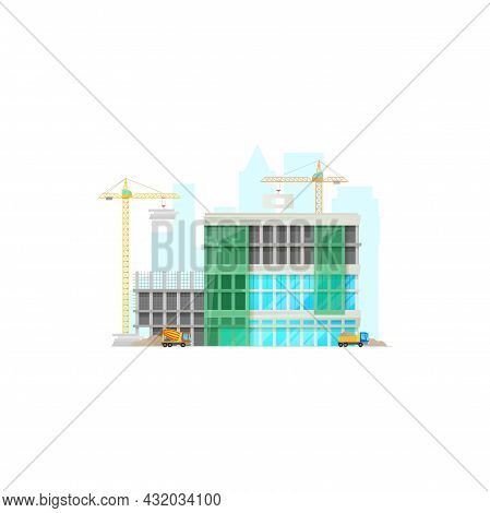 Multistory Building Construction Site, Concrete Mixer Vehicle, Truck With Sand, Lifting Cranes Isola