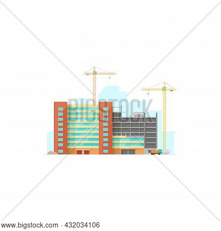 Building Of Urban Residential House Isolated Construction Site Icon. Vector Lifting Cranes And Truck