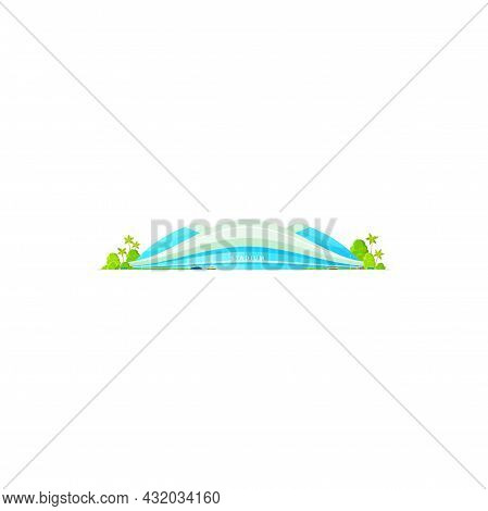 Stadium With Top Roof Isolated Modern Sport Arena. Vector Baseball Or Cricket, Football Volleyball P
