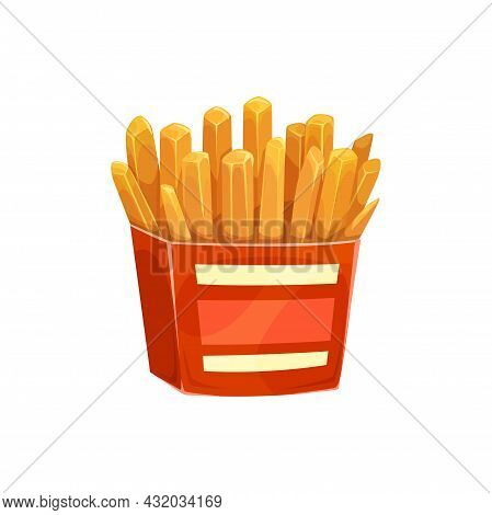French Potato Fries, Fast Food Box Menu, Vector Isolated Icon. Fastfood Restaurant, Bistro And Stree