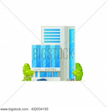 Luxury 5 Star Hotel Isolated Building Facade Exterior. Vector Modern Multi Apart Hotel, City Archite