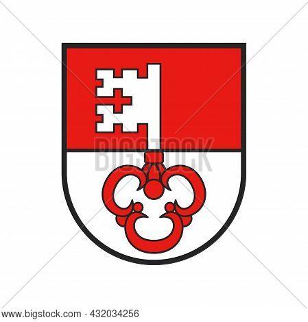 Switzerland, Swiss Canton Flag And Coat Of Arms Of Obwalden City, Vector Crest Shield. Schweiz Kanto