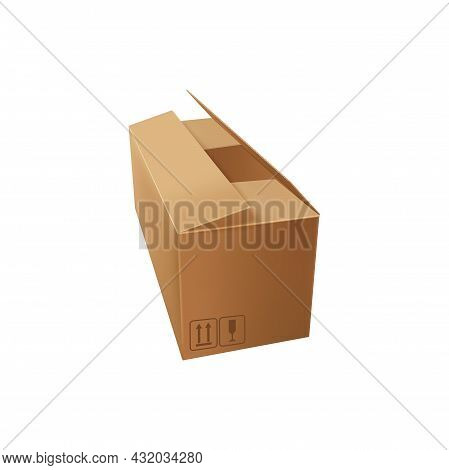 Blank Paper Box Isolated Cardboard Package With Fragile Sign And Top Arrows Icon. Vector Realistic P