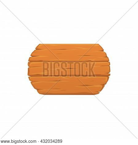 Blank Wooden Sign Board Isolated Realistic Icon. Vector Billboard Of Old Wood Planks, Empty Timber P
