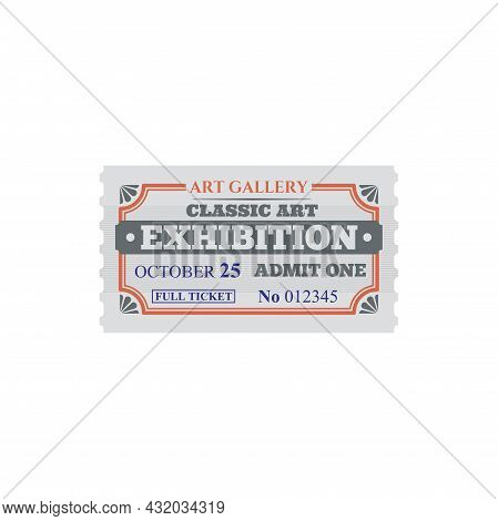 Entry Ticket To Classic Art Gallery Exhibition Isolated Card. Vector Voucher Access To Gallery, Sing