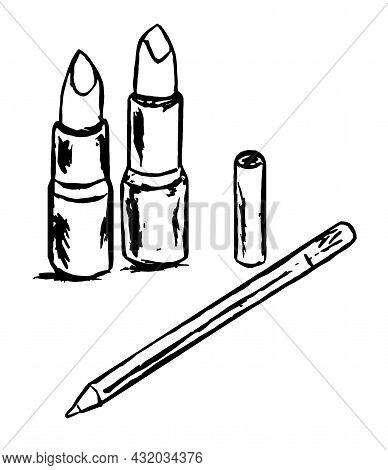 A Lip Pencil And Two Lipsticks - A Graphic Contour Image