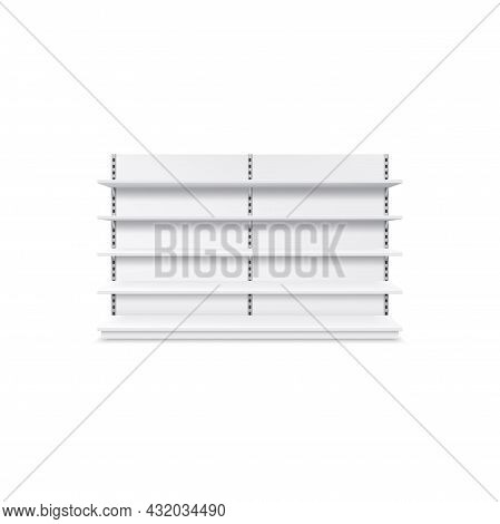 Shelf Realistic Store Display Product Showcase Stand Isolated Realistic Icon 3d White Metal Model. V
