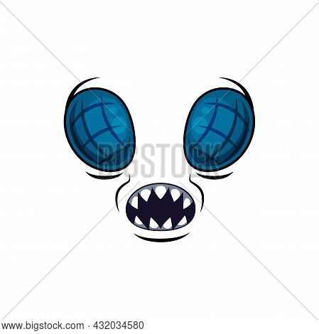 Monster Face Cartoon Vector Icon, Halloween Creepy Muzzle, Emotion With Meshy Fly Eyes And Open Mout