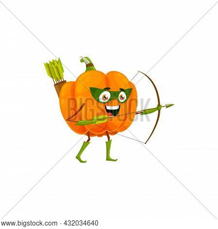 Cartoon Pumpkin Fairytale Hero Isolated Vector Icon. Funny Vegetable In Cloak And Mask Shoot With Bo