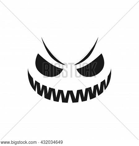 Malevolent Halloween Pumpkin Face Vector Icon. Scary Evil Emoji With Toothy Smile, Creepy Squinted E