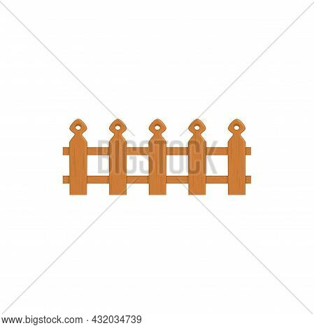 Country Timber Fence Icon, Wooden Fencing Isolated. Vector Rustic Ranch Farm Boundary, Defense And P
