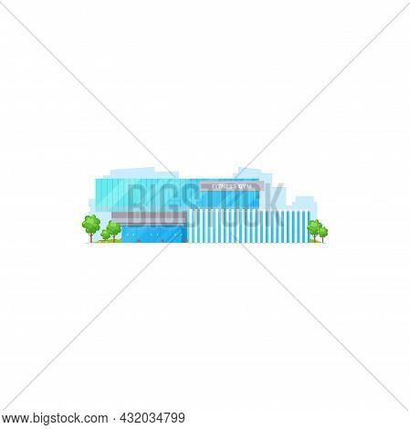 Sport Gym Isolated City Architecture Building Front View Glass Facade, Green Trees. Vector Urban Cit