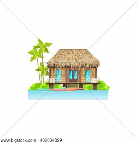 Tropical Wooden House On Water On Seaside Of Island At Sea Or Ocean Beach, River Cost With Canoe Boa