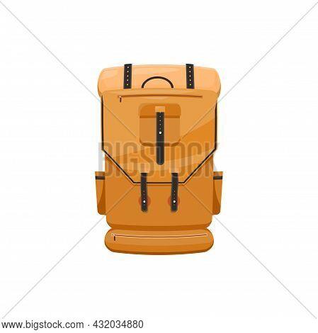 Trekking Backpack Isolated Orange Rucksack With Straps Lacing, Haversack Icon. Vector Knapsack, Hiki